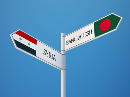 Syria Bangladesh High Resolution Sign Flags Concept photo