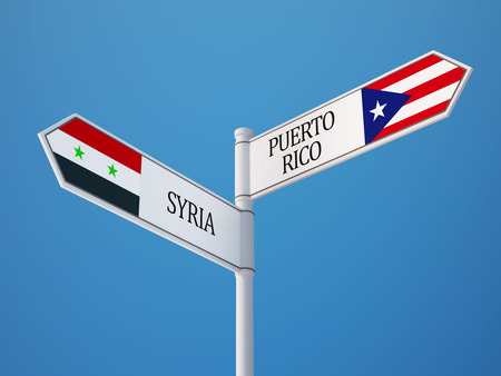Syria Puerto Rico High Resolution Sign Flags Concept photo