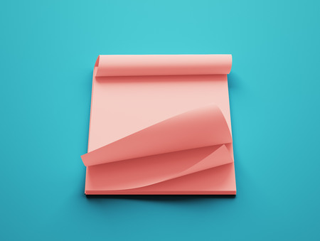 red paper: Blank Red Paper Notepad isolated on blue background