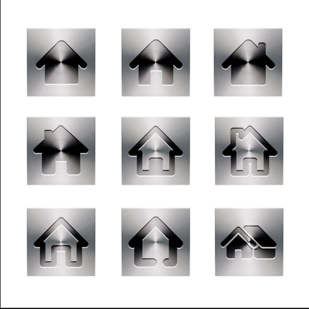 anisotropy: High Resolution Home Icons isolated on white