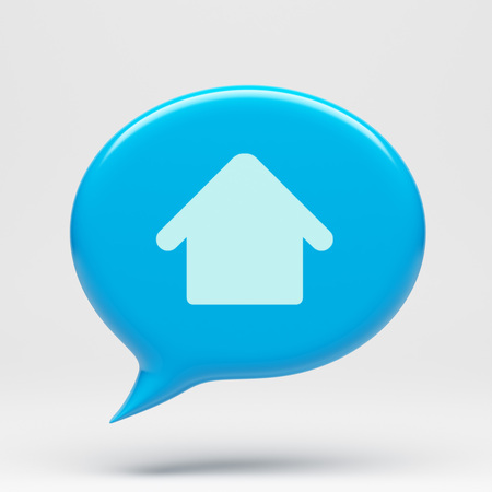 chat bubble: Chat Bubble Home Icon isolated on white Stock Photo