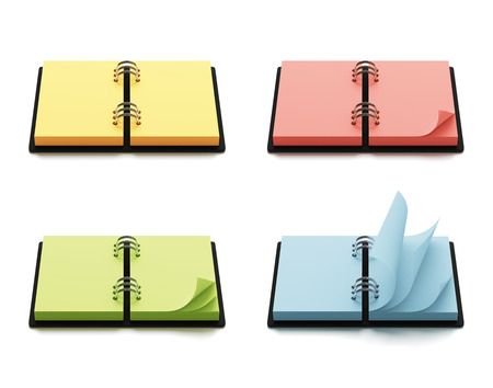 copyspace: Colorful agenda with copyspace isolated on white background Stock Photo