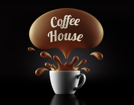 coffee house: High Resolution Coffee House Splash Cup Concept isolated on black background