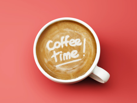 time to shine: Time Coffee Cup Concept isolated on red background