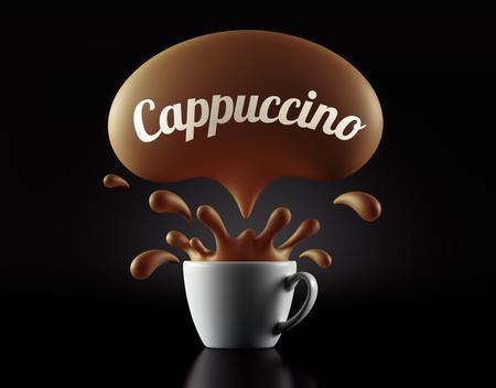 High Resolution Capuccino Splash Cup Concept geïsoleerd op een zwarte achtergrond Stockfoto