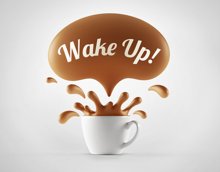 morning breakfast: High Resolution Wake Up Splash Cup Concept isolated on white background