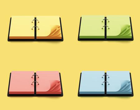 Agenda Con Coloridas Páginas Aisladas Sobre Fondo Verde Fotos ...