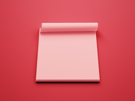 red paper: Blank Red Paper Notepad isolated on red background