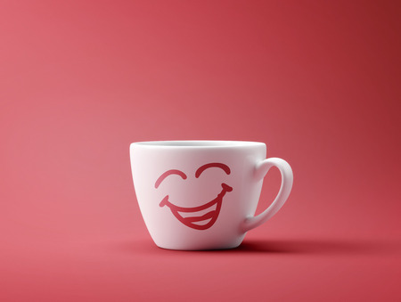 Face Laughing Coffee Cup Concept isolated on red background