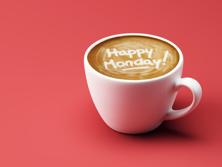 Happy Monday Coffee Cup Concept isolated on red background