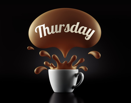 thursday: High Resolution Thursday Splash Cup Concept isolated on black background Stock Photo