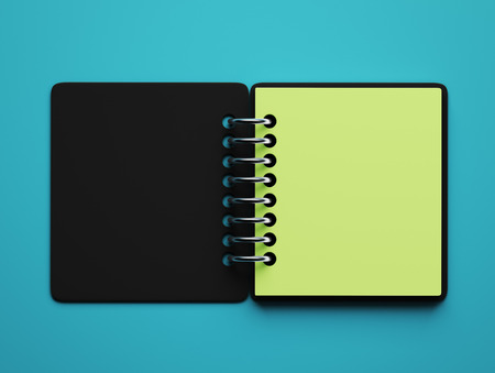 blue green background: Blank Green Paper Notepad isolated on blue background Stock Photo
