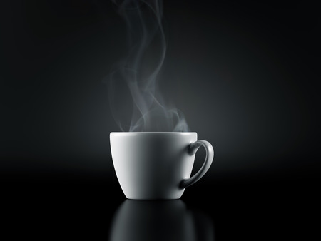 shine background: White Cup with hot Liquid and Steam on Black Background