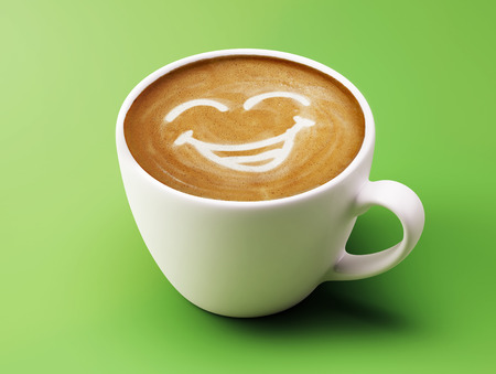 sneering: Face Laughing Coffee Cup Concept isolated on green background