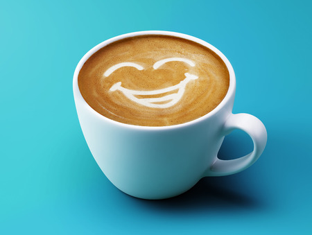 sneering: Face Laughing Coffee Cup Concept isolated on cyan background Stock Photo