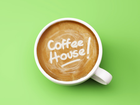 coffee house: Coffee House Cup Concept isolated on green background