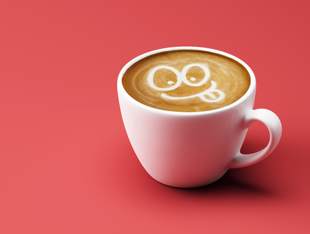 sneering: Face Laughing Coffee Cup Concept isolated on red background