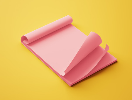 red paper: Blank Red Paper Notepad isolated on yellow background