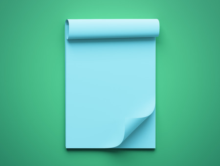 blue green background: Blank Blue Paper Notepad isolated on green background