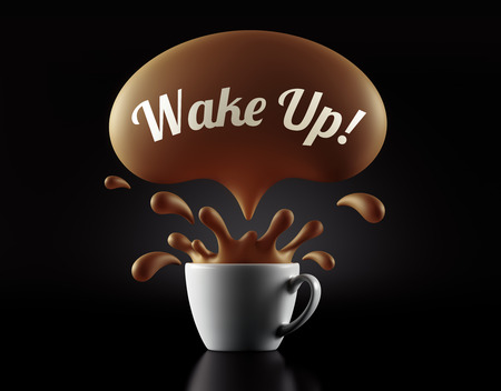 wake up: High Resolution Wake Up Splash Cup Concept isolated on black background
