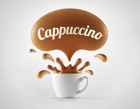 capuccino: High Resolution Capuccino Splash Cup Concept isolated on white background Stock Photo