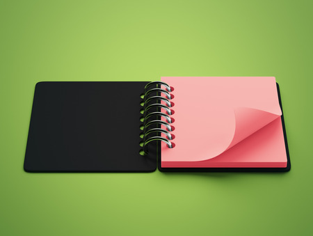 red paper: Blank Red Paper Notepad isolated on green background Stock Photo