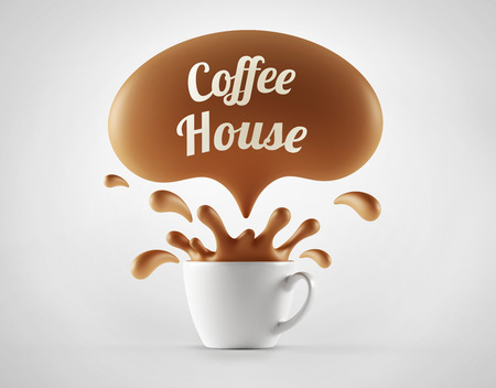 coffee house: High Resolution Coffee House Splash Cup Concept isolated on white background Stock Photo