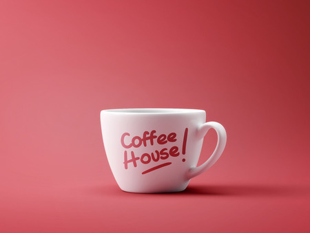 coffee house: Coffee House Cup Concept isolated on red background