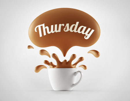 the thursday: High Resolution Thursday Splash Cup Concept isolated on white background