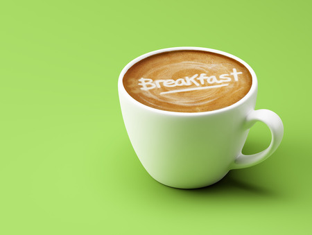 breakfast cup: Breakfast Coffee Cup Concept isolated on green background Stock Photo
