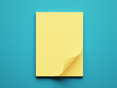 yellow paper: Blank Yellow Paper Notepad isolated on blue background