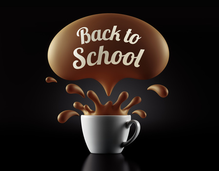 splash back: High Resolution Back to School Splash Cup Concept isolated on black background