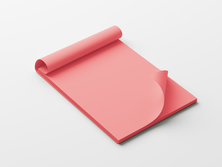 red paper: Blank Red Paper Notepad isolated on white background