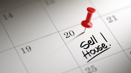 sell house: Concept image of a Calendar with a red push pin. Closeup shot of a thumbtack attached. The words Sell House written on a white notebook to remind you an important appointment.