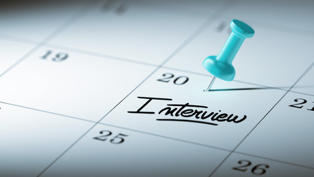 oral communication: Concept image of a Calendar with a blue push pin. Closeup shot of a thumbtack attached. The words Interview written on a white notebook to remind you an important appointment.