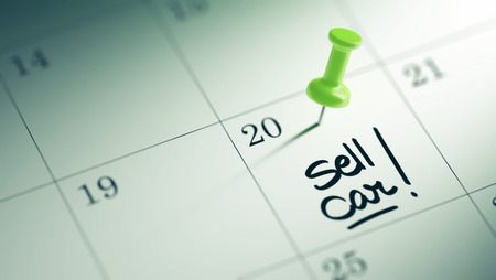 sell car: Concept image of a Calendar with a green push pin. Closeup shot of a thumbtack attached. The words Sell Car written on a white notebook to remind you an important appointment. Stock Photo