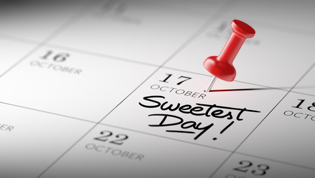 sweetest: Concept image of a Calendar with a red push pin. Closeup shot of a thumbtack attached. The words Sweetest Day written on a white notebook to remind you an important appointment.