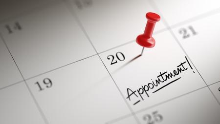 Conceptenbeeld van een Kalender met een rode duwspeld. Close-up shot van een thumbtack in bijlage. De woorden Afspraak geschreven op een witte laptop om u te herinneren aan een belangrijke afspraak. Stockfoto - 53905052