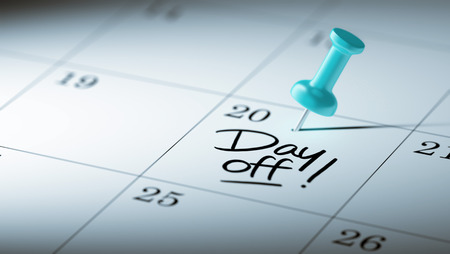 write off: Concept image of a Calendar with a blue push pin. Closeup shot of a thumbtack attached. The words Day off written on a white notebook to remind you an important appointment.