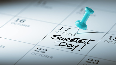 sweetest: Concept image of a Calendar with a blue push pin. Closeup shot of a thumbtack attached. The words Sweetest Day written on a white notebook to remind you an important appointment.