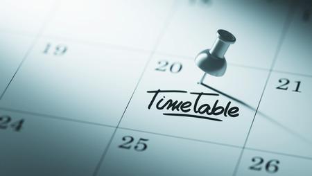 cronologia: Concepto de imagen de un calendario con un alfiler. El primer tiró de una chincheta adjunto. El Horario palabras escritas en un cuaderno en blanco para que le recuerde una cita importante.