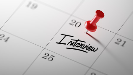 oral communication: Concept image of a Calendar with a red push pin. Closeup shot of a thumbtack attached. The words Interview written on a white notebook to remind you an important appointment.