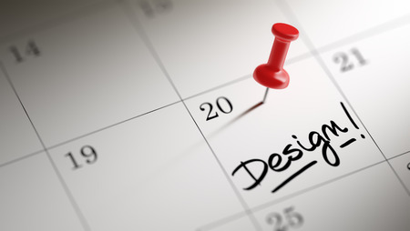remind: Concept image of a Calendar with a red push pin. Closeup shot of a thumbtack attached. The words Design written on a white notebook to remind you an important appointment. Stock Photo
