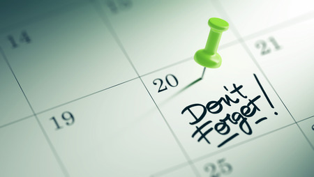 dont: Concept image of a Calendar with a green push pin. Closeup shot of a thumbtack attached. The words Don`t Forget written on a white notebook to remind you an important appointment. Stock Photo