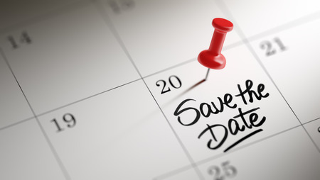 Concept image of a Calendar with a red push pin. Closeup shot of a thumbtack attached. The words Save the date written on a white notebook to remind you an important appointment. Imagens