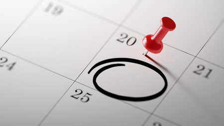 event calendar: Concept image of a Calendar with a red push pin. Closeup shot of a thumbtack attached. Circle mark written on a white notebook to remind you an important appointment. Stock Photo