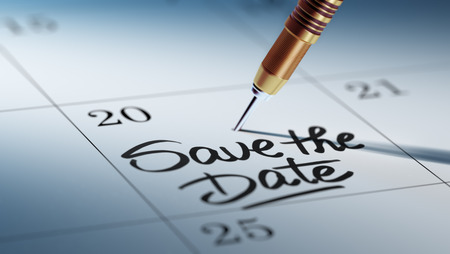 calendar date: Concept image of a Calendar with a golden dart stick. The words Save the date written on a white notebook to remind you an important appointment.