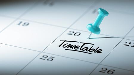 cronologia: Concepto de imagen de un calendario con un alfiler azul. El primer tiró de una chincheta adjunto. El Horario palabras escritas en un cuaderno en blanco para que le recuerde una cita importante.