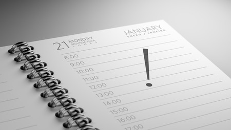 important date: Closeup of a personal calendar setting an important date representing a time schedule.
