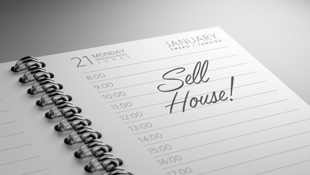 sell house: Closeup of a personal calendar setting an important date representing a time schedule. The words Sell House written on a white notebook to remind you an important appointment.